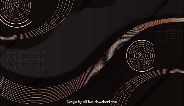 decorative background template elegant dark circles curves shapes