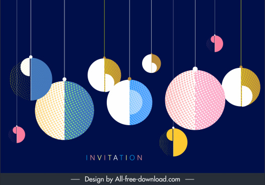 decorative background template hanging semicircle shapes colorful flat