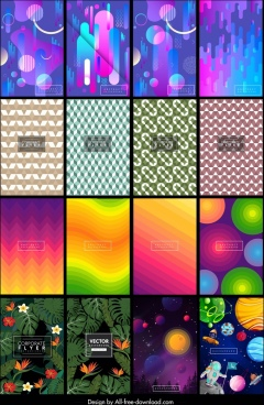 decorative background templates abstract geometric nature cosmos themes