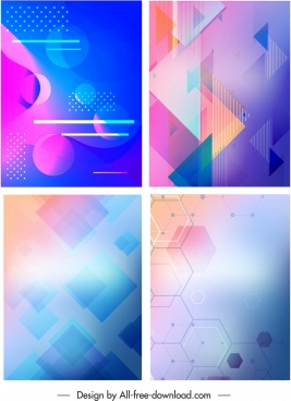 decorative background templates bright colorful geometric decor