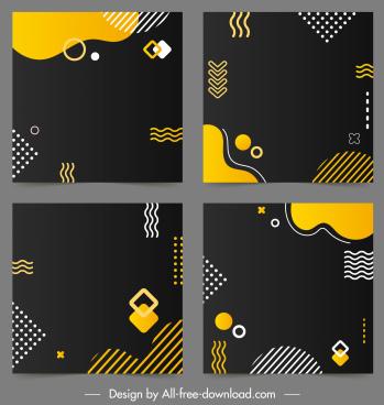decorative background templates flat dark geometrical decor