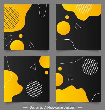 decorative background templates flat dark handdrawn geometric decor