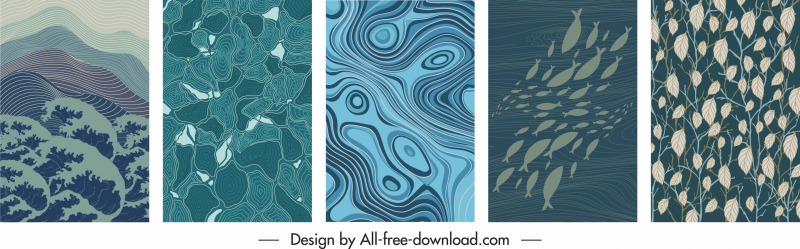 decorative background templates retro abstract nature themes