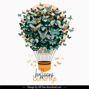 decorative balloon background butterflies ornament
