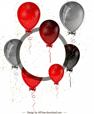 decorative balloons background shiny modern red grey decor