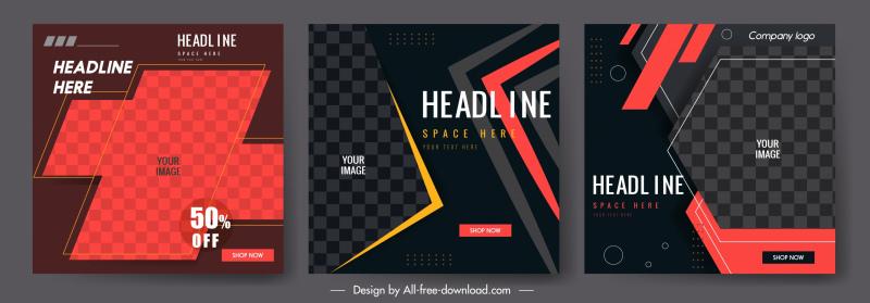 decorative banner templates elegant modern dark checkered design