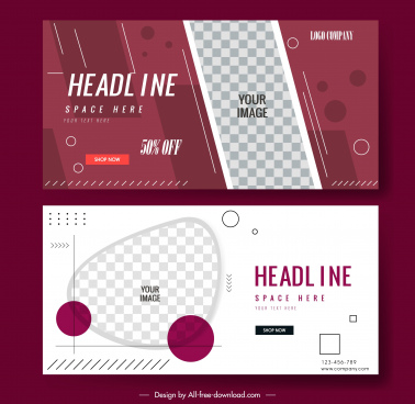 decorative banner templates flat geometric checkered shapes