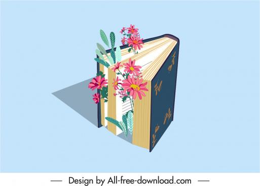 decorative book icon flowers sketch 3d design