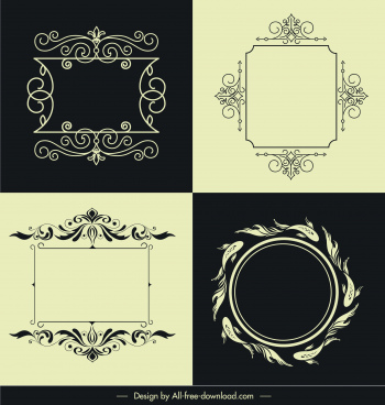 decorative border frame templates elegant retro symmetric shapes