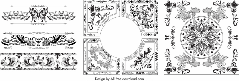 decorative borders templates black white elegant symmetric decor