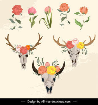 decorative botanical skulls icons colorful classical sketch