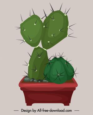 decorative cacti plant pot icon colored classic design