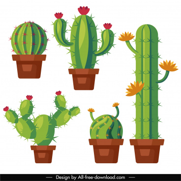 decorative cactus houseplants icons colored flat sketch