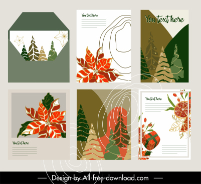 decorative card templates colorful flat classical handdrawn
