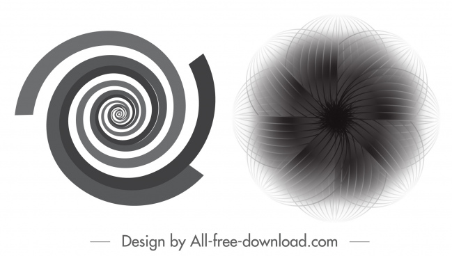 decorative circles templates black white spiral symmetrical shapes