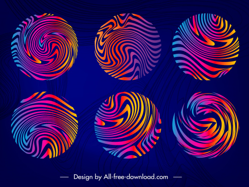 decorative circles templates colored illusive swirled design