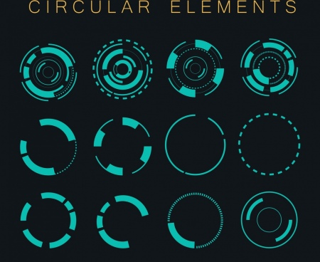 decorative circular icons dark blue circles isolation