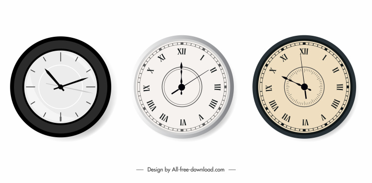 decorative clock icons modern circle shapes