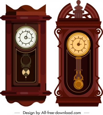 decorative clock templates elegant brown decor flat design