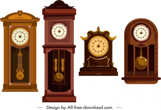decorative clock templates elegant dark brown design