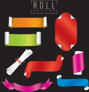 decorative colored paper icons various 3d rolled shapes