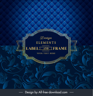 decorative cover template dark luxury blue floral frame