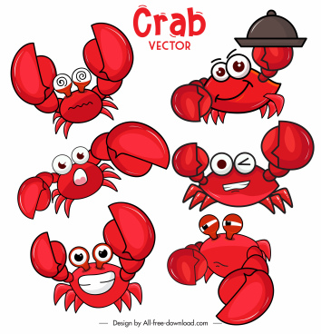 decorative crabs icons funny emotional stylized cartoon sketch