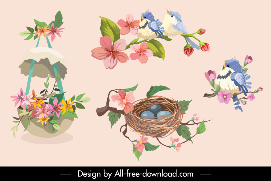 decorative decor elements elegant egg birds nest sketch