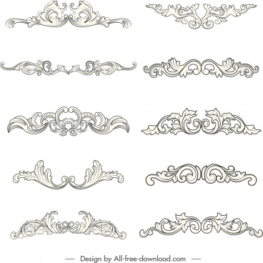 decorative design element elegant symmetrical swirled shapes sketch