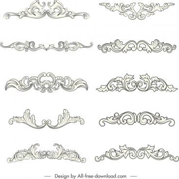 decorative design element elegant symmetrical swirled shapes sketch