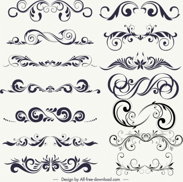 decorative design elements black white classical symmetrical curves