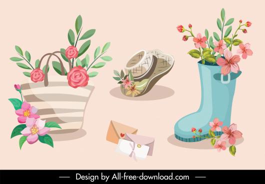 decorative design elements floral objects sketch classic design