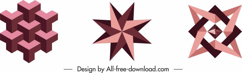 decorative design elements symmetric 3d geometric shapes