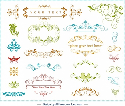 decorative document design elements classical symmetric curves