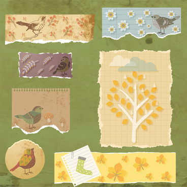 decorative drawings on torn papers vector illustration