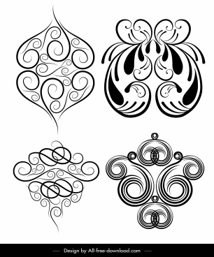 decorative element templates black white classic symmetric seamless