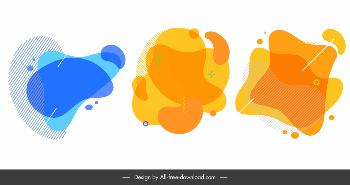 decorative elements abstract flat deformed shapes