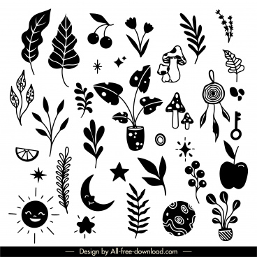 decorative elements black white flat handdrawn symbols