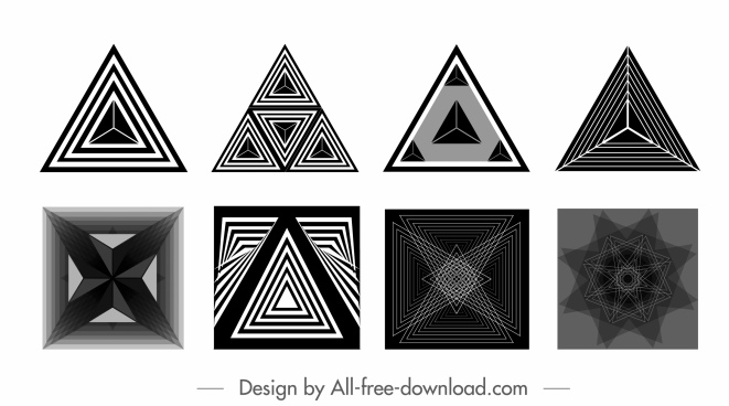 decorative elements black white geometric symmetric illusive decor