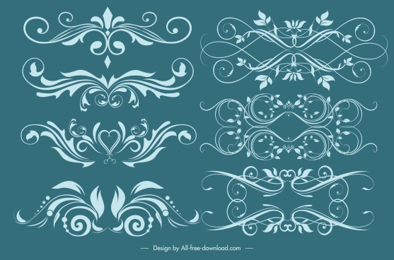 decorative elements classical symmetric swirled shapes
