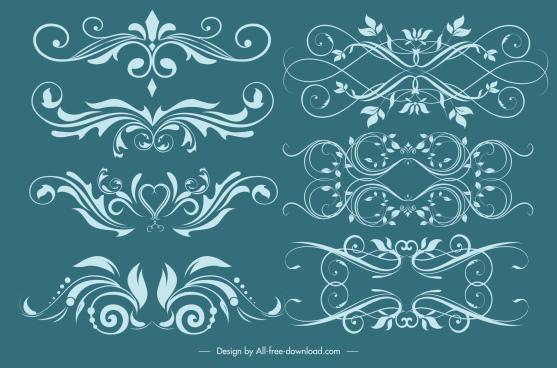 decorative elements classical symmetric swirled shapes