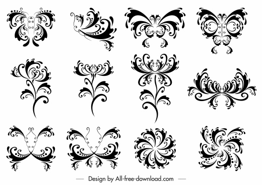 decorative elements collection black white symmetric swirled shapes