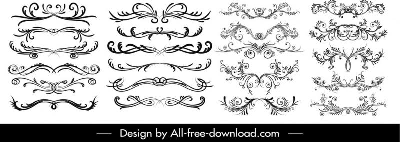 decorative elements collection black white symmetrical curves sketch
