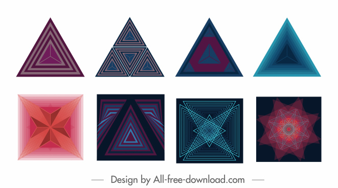 decorative elements colored modern geometric triangle squares shapes