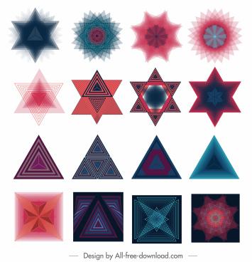 decorative elements colored modern illusive geometric shapes