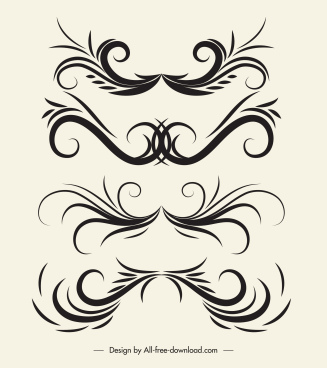 decorative elements elegant classic symmetric curves shapes