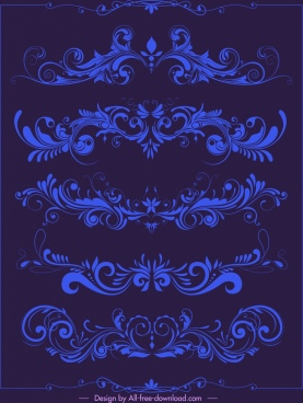 decorative elements elegant classical symmetrical curves
