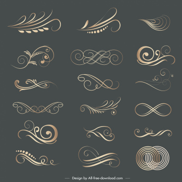 decorative elements elegant swirled lines shapes