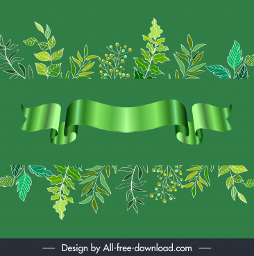 decorative elements green leaves 3d ribbon sketch