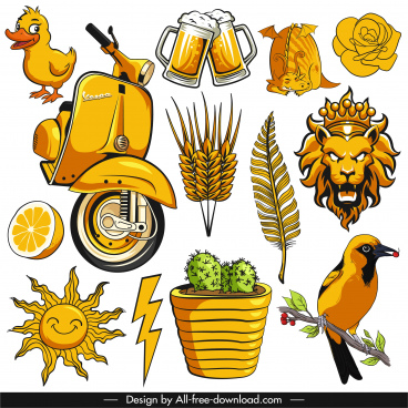 decorative elements icons yellow classical handdrawn emblems